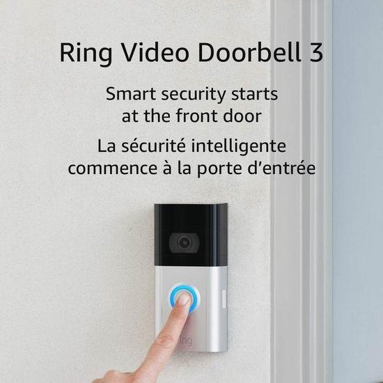 Ring Video Doorbell 3 智能可视门铃 194.99加元包邮!