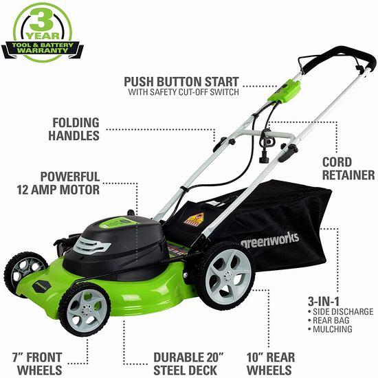 金盒头条:GreenWorks 25022 20英寸三合一电动割草机6.4折 159加元包邮!仅限今日!