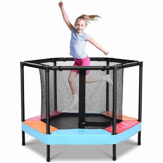 ONETWOFIT 4英尺 带保护罩 室内/户外 儿童蹦床4.9折 90.99加元包邮!
