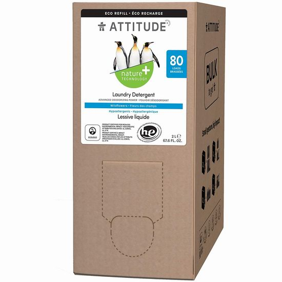 历史新低!ATTITUDE 纯天然环保 低过敏 野花香味 高效洗衣液(2升/80缸)4.5折 8.99加元!