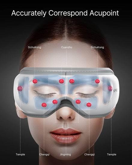 RENPHO 升级版 带加热 可遥控 蓝牙眼部按摩器5.8折 63.09加元包邮!缓解眼疲劳,改善干眼黑眼圈,促睡眠!