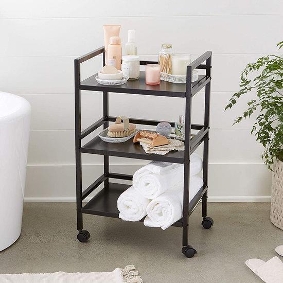 历史新低!Amazon Basics 可移动 厨房/浴室/书房 三层黑色金属收纳架5.4折 38.03加元包邮!