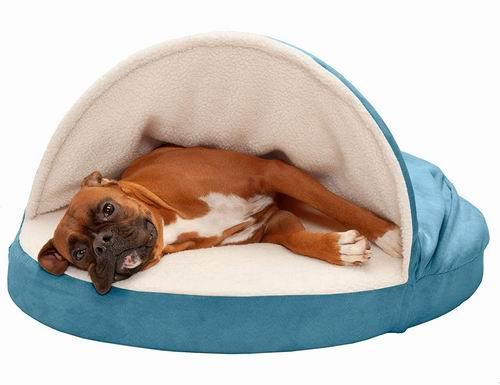 FurHaven Pet 35英寸 记忆泡沫圆形人造羊皮 宠物狗床 6折 43.36加元,原价 72.35加元,包邮