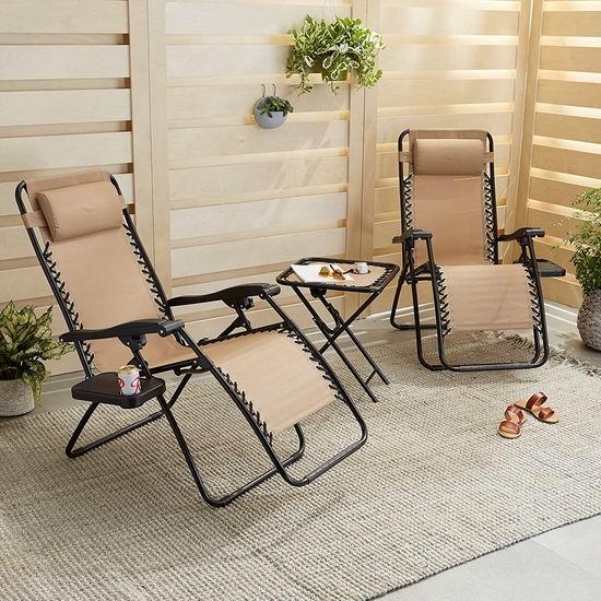休闲午休神器!AmazonBasics 零重力躺椅+边桌3件套 144.32加元包邮!