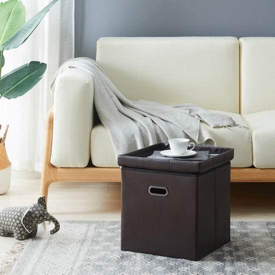 历史新低!CAROSE 可折叠 二合一 人造革边桌/收纳脚踏凳6折 17.99加元!