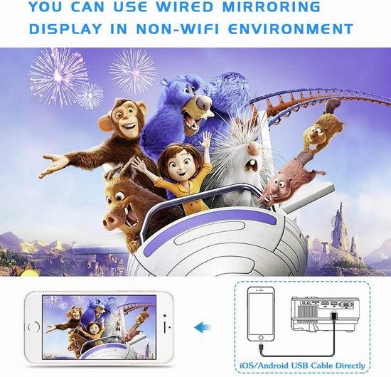 手慢无!历史新低!Jinoo 升级版 原生720P 7500流明 WiFi无线 家庭影院投影仪4.6折 78.99加元包邮!送100英寸投影幕布!