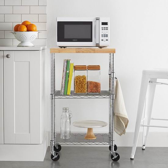 AmazonBasics 时尚镀铬金属厨房推车7.4折 59.3加元包邮!