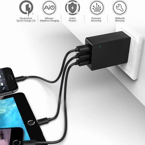 历史新低!AAKY 高通快充3.0 3口USB智能快速充电器6折 22.97加元包邮!