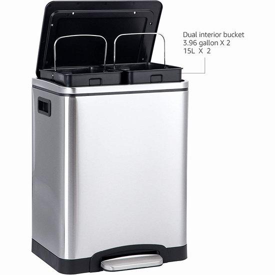 历史新低!Amazon Basics 2 x 15升 高颜值 双内胆 脚踏式不锈钢垃圾桶 4.6折 47.51加元包邮!