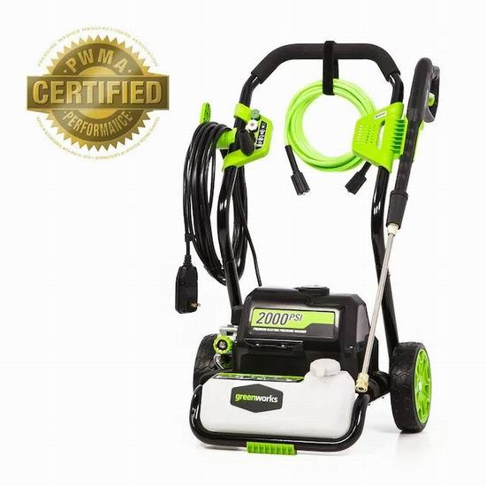 历史新低!Greenworks Pro 2000 PSI 电动高压水枪/清洗机6.5折 157.71加元包邮!