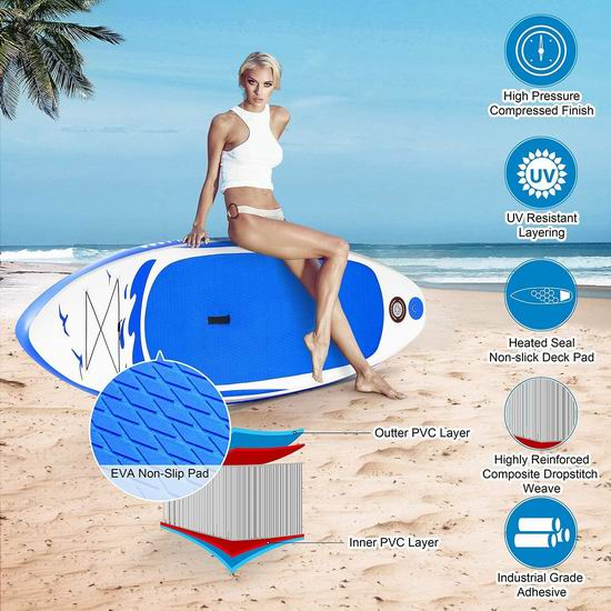 历史新低!MaxKare 10英尺 SUP充气站立式桨板5.3折 168.99加元包邮!