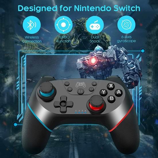 FOCOLABU Switch Pro 蓝牙无线游戏手柄5折 14.49加元!兼容Switch游戏机、PC电脑!