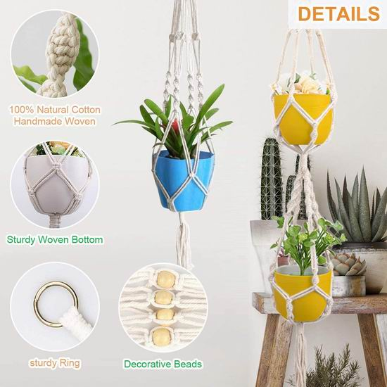 CORNMI 波西米亚 花盆悬挂吊绳5件套4.8折 10.99加元!