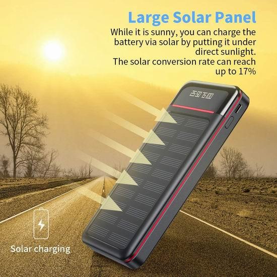 历史新低!Aikove 26800mAh 10W 大容量 太阳能无线充电宝7折 39.19加元包邮!