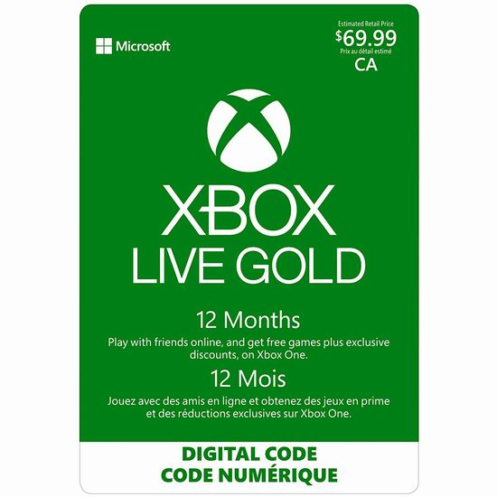 Xbox Live Gold 金会员一年会员 59.99加元!