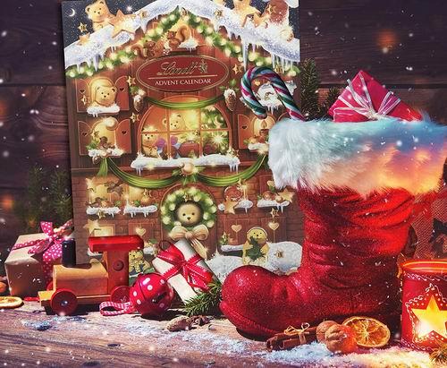 圣诞礼品:Lindt Teddy 瑞士莲泰迪巧克力圣诞日历  128 克  26加元