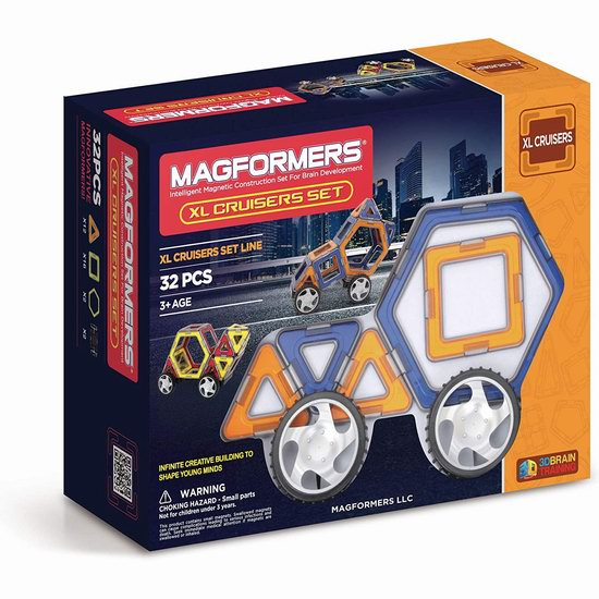 Magformers XL Cruisers 百变提拉 汽车磁力积木(32pcs)4.1折 29.24加元!